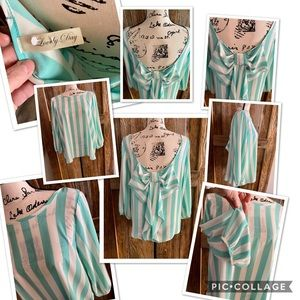Brand New Tiffany Blue & White stripped blouse